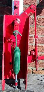Swivel Hook & Bolt Clay Trap Spring fitted to a Farey lever trap.