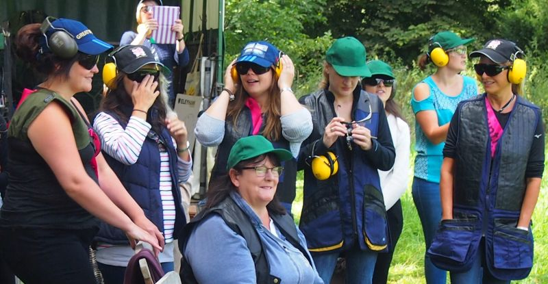 Watching the clays at a Hen party.